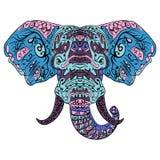 Słoń głowy Boho zentangle doodles wektor Obraz Royalty Free