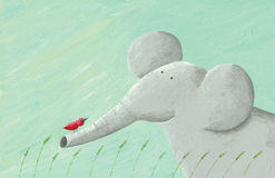 Słoń i czerwień ptak Zdjęcia Stock