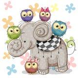 Słoń i sowy ilustracji