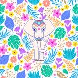 Słoń i tropikalni kwiaty royalty ilustracja