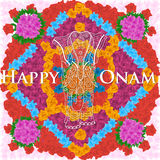 Słoń na kwiatu tle dla Indiańskiego festiwalu, Szczęśliwy Onam świętowanie Obraz Stock