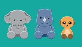 Słoń nosorożec Meerkat lali kreskówki wektoru Ustalona ilustracja royalty ilustracja