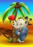 Słoń pozycja palmą Zdjęcie Royalty Free