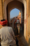 Słoń przejażdżka Amer pałac lub Amer fort () jaipur Rajasthan indu Fotografia Stock