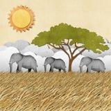 Słoń przetwarzający papierowy tło Zdjęcie Royalty Free