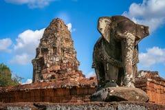 Słoń rzeźba w Angkor fotografia royalty free