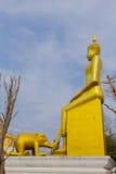 Słoń statua uwielbia Buddha z wiarą przy Watem Klon Fotografia Stock