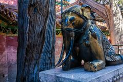 Słoń statua w niedozwolonym mieście Pekin Obraz Royalty Free