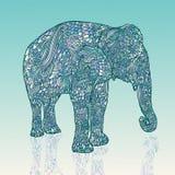 Słoń w azjata stylu Mandala projektuje błękita wzór również zwrócić corel ilustracji wektora royalty ilustracja