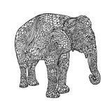 Słoń w azjata stylu Mandala wzór dla dorosłej kolorystyki książki Wektorowa czarny i biały ilustracja ilustracji