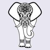 Słoń z abstrakcjonistycznymi kwiatami royalty ilustracja