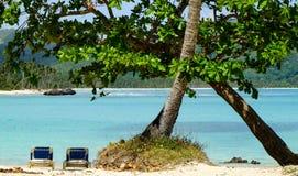 Słońc łóżka na karaibskiej plaży pod drzewem Zdjęcie Stock