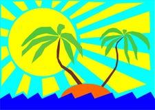 słońc palmowi denni drzewa Fotografia Stock