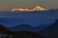 Słońca światło na górze Kanchenjugha Zdjęcia Royalty Free