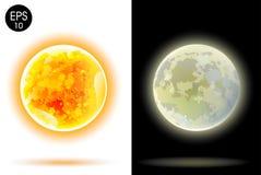 Słońca i księżyc wektoru ilustracja Zdjęcia Royalty Free