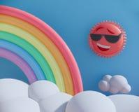 Słońca i nieba kreskówka 3d odpłaca się tło royalty ilustracja