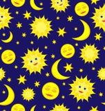 Słońca, księżyc i gwiazd Niebiański Bezszwowy Deseniowy Wektorowy backgroun, Zdjęcia Royalty Free