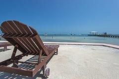Słońca lounger Belize Caye doszczelniacz Obraz Royalty Free