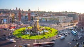Słońca Placa De Espana kwadrata 4k czasu lekki upływ Barcelona Spain zbiory