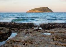 Słońca położenie na maskonur wyspie, Północny Walia Obraz Stock
