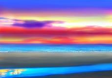 Słońca położenie przy pokojowego oceanu plażą ilustracja wektor