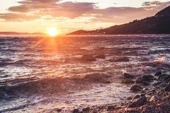 Słońca położenie w Chorwacja obraz royalty free