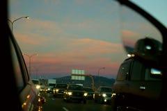 Słońca położenie w ruchu drogowym Obraz Stock