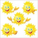 Słońca postać z kreskówki - set Obraz Stock