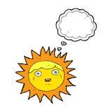 słońca postać z kreskówki z myśl bąblem Zdjęcie Stock