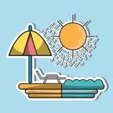 Słońca siedzenie z parasolem być na wakacjach Obraz Stock
