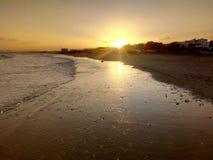 Słońca wydźwignięcie, widok Arabski ocean, muszkat, Oman fotografia royalty free