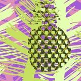 Słońce bezszwowy wzór z palma ananasem w doodle i liśćmi ilustracja wektor
