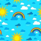 Słońce, chmury i tęcza bezszwowy wzór, ilustracji