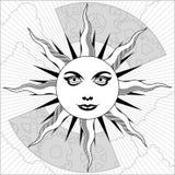 słońce czarny biel Fotografia Royalty Free