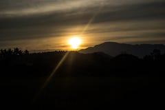 Słońce góra Fotografia Stock