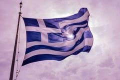 Słońce grka flaga szczytu Błękitny Biały akropol Ateny Grecja Fotografia Royalty Free
