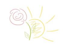 Słońce i kwiat royalty ilustracja