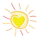 Słońce i serce w centrum wektorowej ilustraci Zdjęcie Royalty Free