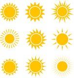 Słońce ikony inkasowe ilustracja Ilustracji