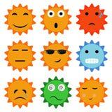 Słońce ikony z emocjami Obrazy Royalty Free