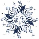 słońce ilustracyjny lelui czerwieni stylu rocznik astrologia ethnic poganin Boho styl wektor royalty ilustracja
