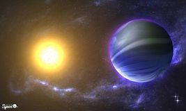 Słońce Jak planeta od astronautycznego punktu widzenia na pozaziemskim tle i Wektorowa ilustracja dla twój prezentacj Fotografia Stock