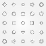 Słońce kreskowe ikony ustawiać Zdjęcia Royalty Free