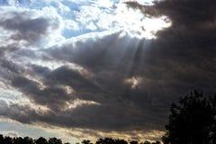 Słońce lekcy promienie przez zmroku Zdjęcie Stock