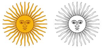 Słońce Maj - krajowy emblemat Argentyna i Urugwaj Koloru żółtego ci royalty ilustracja