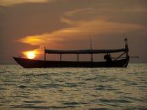 Słońce na łodzi obrazy royalty free