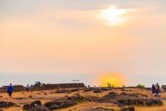 Słońce na Pacyficznym oceanie, Goa, India Fotografia Stock