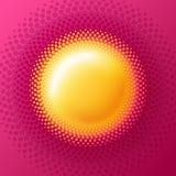 Słońce okręgu halftone wektoru logo Pogodny projekta element Halftone odznaka dla zdrowie ilustracja wektor