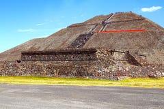 Słońce ostrosłup IX, teotihuacan Obrazy Royalty Free