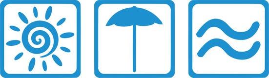 Słońce, parasol i morze, - lato wjazd royalty ilustracja